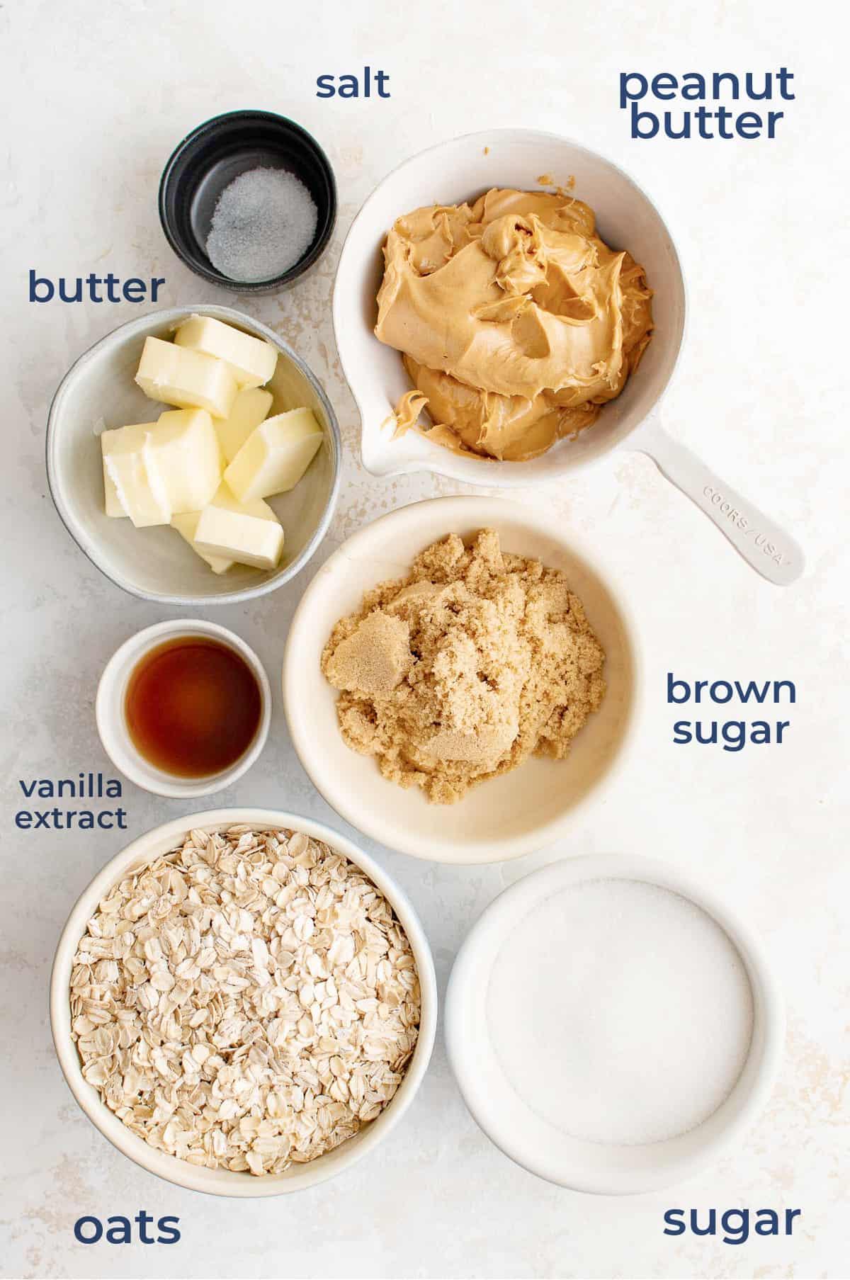ingredients in bowls, peanut butter, sugar, brown sugar, vanilla, butter, salt